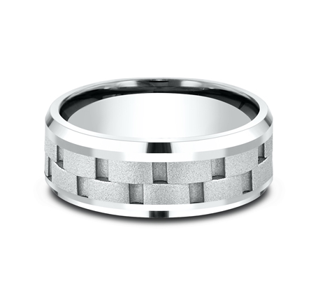 8MM WHITE GOLD DESIGN BAND CF408493W 2 - 8MM WHITE GOLD DESIGN BAND CF408493W