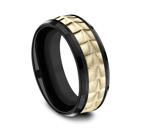 8MM YELLOW GOLD AND BLACK TITANIUM BAND CF378765BKTY 2 - 8MM YELLOW GOLD AND BLACK TITANIUM BAND CF378765BKTY