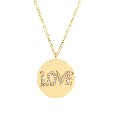 "0.08ct 14k Yellow Gold Diamond Love Pendant SC55001939 - 0.08ct 14k Yellow Gold Diamond ""Love"" Pendant SC55001939"