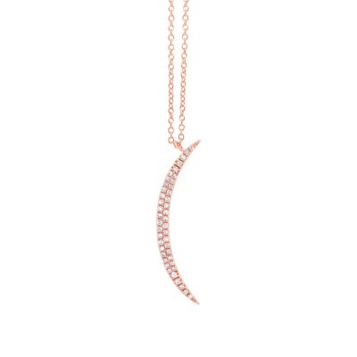 0.13ct 14k Rose Gold Diamond Crescent Pendant SC55002104 - 0.13ct 14k Rose Gold Diamond Crescent Pendant SC55002104