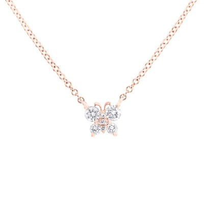 0.19ct 14k Rose Gold Diamond Butterfly Pendant SC55006278 - 0.19ct 14k Rose Gold Diamond Butterfly Pendant SC55006278