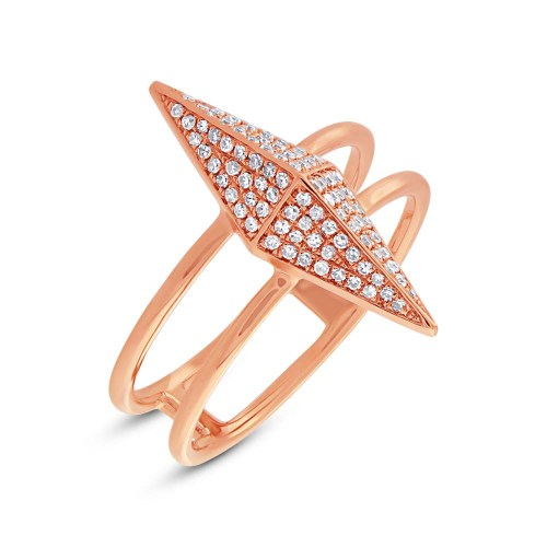0.22ct 14k Rose Gold Diamond Pave Pyramid Ring SC55002081 - 0.22ct 14k Rose Gold Diamond Pave Pyramid Ring SC55002081