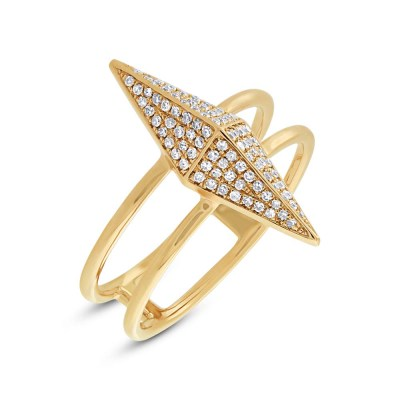 0.22ct 14k Yellow Gold Diamond Pave Pyramid Ring SC55002080 - 0.22ct 14k Yellow Gold Diamond Pave Pyramid Ring SC55002080