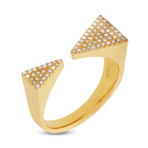 0.22ct 14k Yellow Gold Diamond Pave Triangle Ring SC55001310 - 0.22ct 14k Yellow Gold Diamond Pave Triangle Ring SC55001310