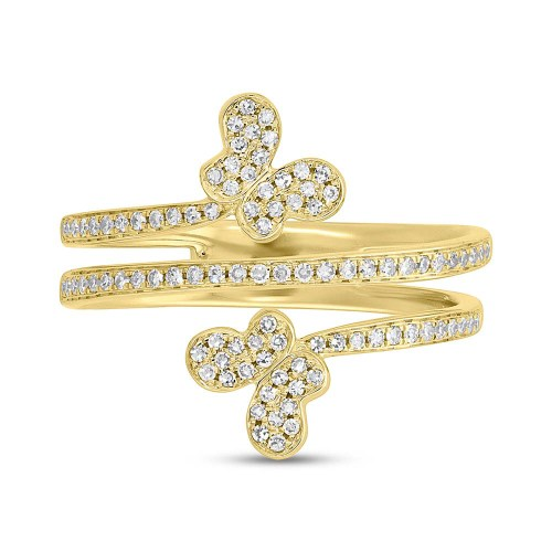 0.25ct 14k Yellow Gold Diamond Butterfly Ring SC55005310 1 - 0.25ct 14k Yellow Gold Diamond Butterfly Ring SC55005310