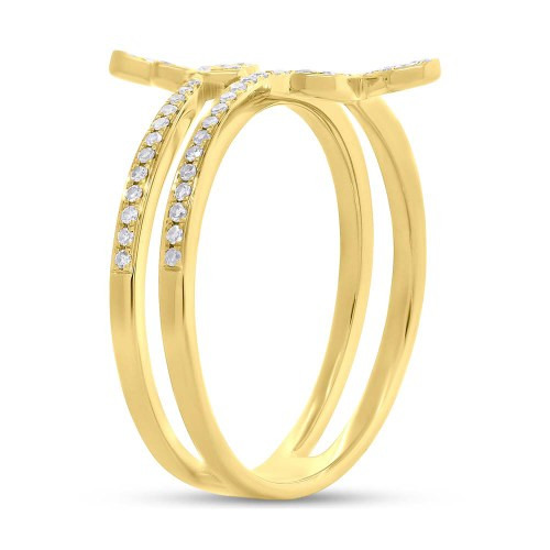 0.25ct 14k Yellow Gold Diamond Butterfly Ring SC55005310 2 - 0.25ct 14k Yellow Gold Diamond Butterfly Ring SC55005310