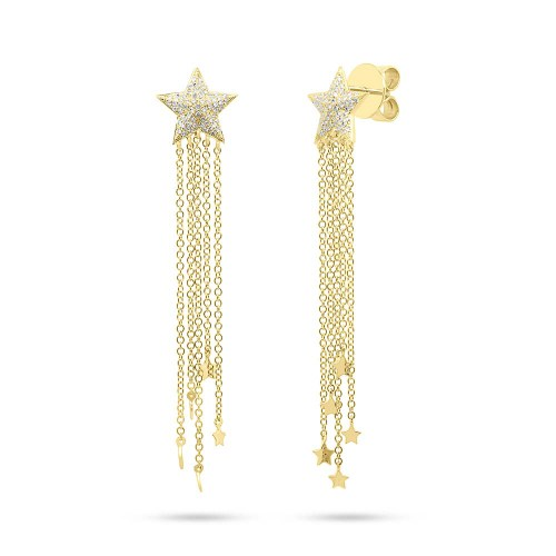 0.27ct 14k Yellow Gold Diamond Star Fringe Earring SC55006782 - 0.27ct 14k Yellow Gold Diamond Star Fringe Earring SC55006782