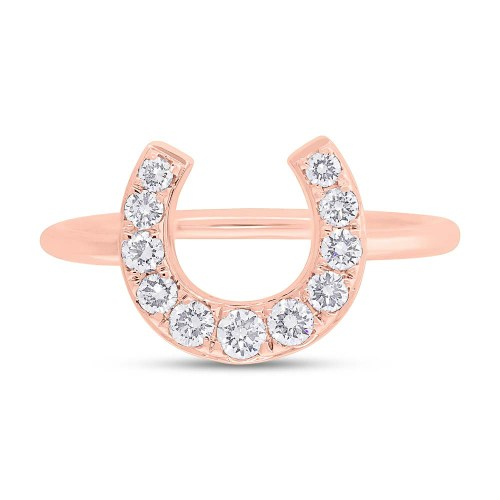 0.36ct 14k Rose Gold Diamond Horseshoe Ring SC55006266 1 - 0.36ct 14k Rose Gold Diamond Horseshoe Ring SC55006266