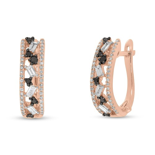 0.51ct White and Black Diamond Baguette 14k Rose Gold Huggie Earring SC36213558 - 0.51ct White and Black Diamond Baguette 14k Rose Gold Huggie Earring SC36213558