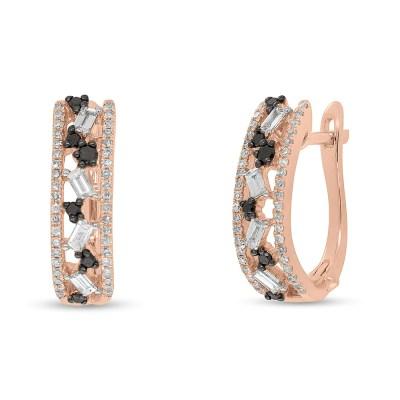 0.51ct White and Black Diamond Baguette 14k Rose Gold Huggie Earring SC36213558 - 0.51ct White and Black Diamond Baguette 14k Rose Gold Huggie Earring SC36213558
