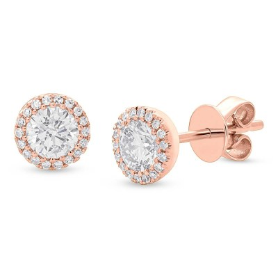 0.80ct Round Brilliant Center and 0.10ct Side 14k Rose Gold Diamond Stud Earring SC55005505 - 0.80ct Round Brilliant Center and 0.10ct Side 14k Rose Gold Diamond Stud Earring SC55005505