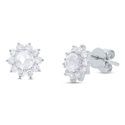0.91ct 14k White Gold Diamond Flower Rose Cut Stud Earring SC55005783 - 0.91ct 14k White Gold Diamond Flower Rose Cut Stud Earring SC55005783