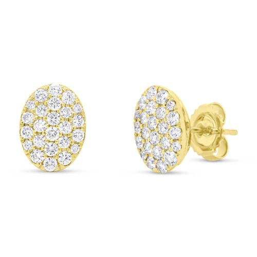 0.99ct 14k Yellow Gold Diamond Pave Oval Earring SC22004748 - 0.99ct 14k Yellow Gold Diamond Pave Oval Earring SC22004748