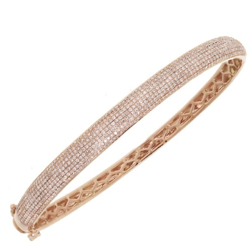 1.54ct 14k Rose Gold Diamond Pave Bangle SC22003213 - 1.54ct 14k Rose Gold Diamond Pave Bangle SC22003213