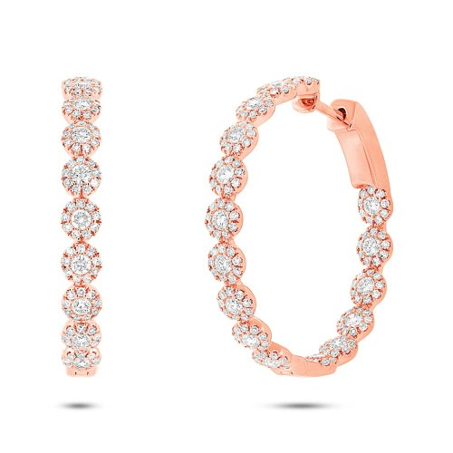 1.58ct 14k Rose Gold Diamond Hoop Earring SC55003542 - 1.58ct 14k Rose Gold Diamond Hoop Earring SC55003542