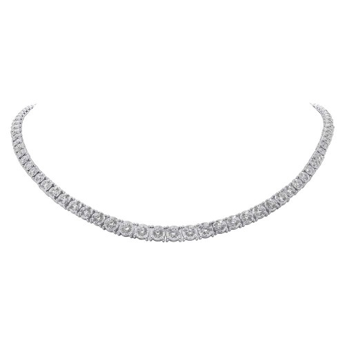 4.39ct 14k White Gold Diamond Tennis Necklace SC55005140 2 - 4.39ct 14k White Gold Diamond Tennis Necklace SC55005140