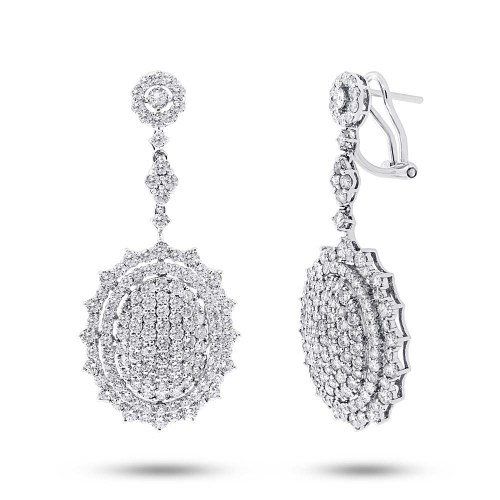 5.65ct 18k White Gold Diamond Pave Earring SC37215036 - 5.65ct 18k White Gold Diamond Pave Earring SC37215036
