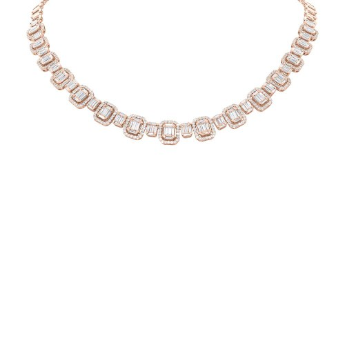 7.73ct 18k Rose Gold Diamond Baguette Necklace SC37215479 1 - 7.73ct 18k Rose Gold Diamond Baguette Necklace SC37215479
