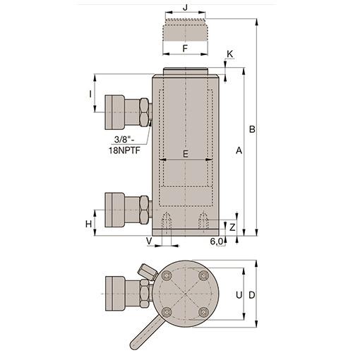 Cilindro de Aço Dupla Ação Vazado
