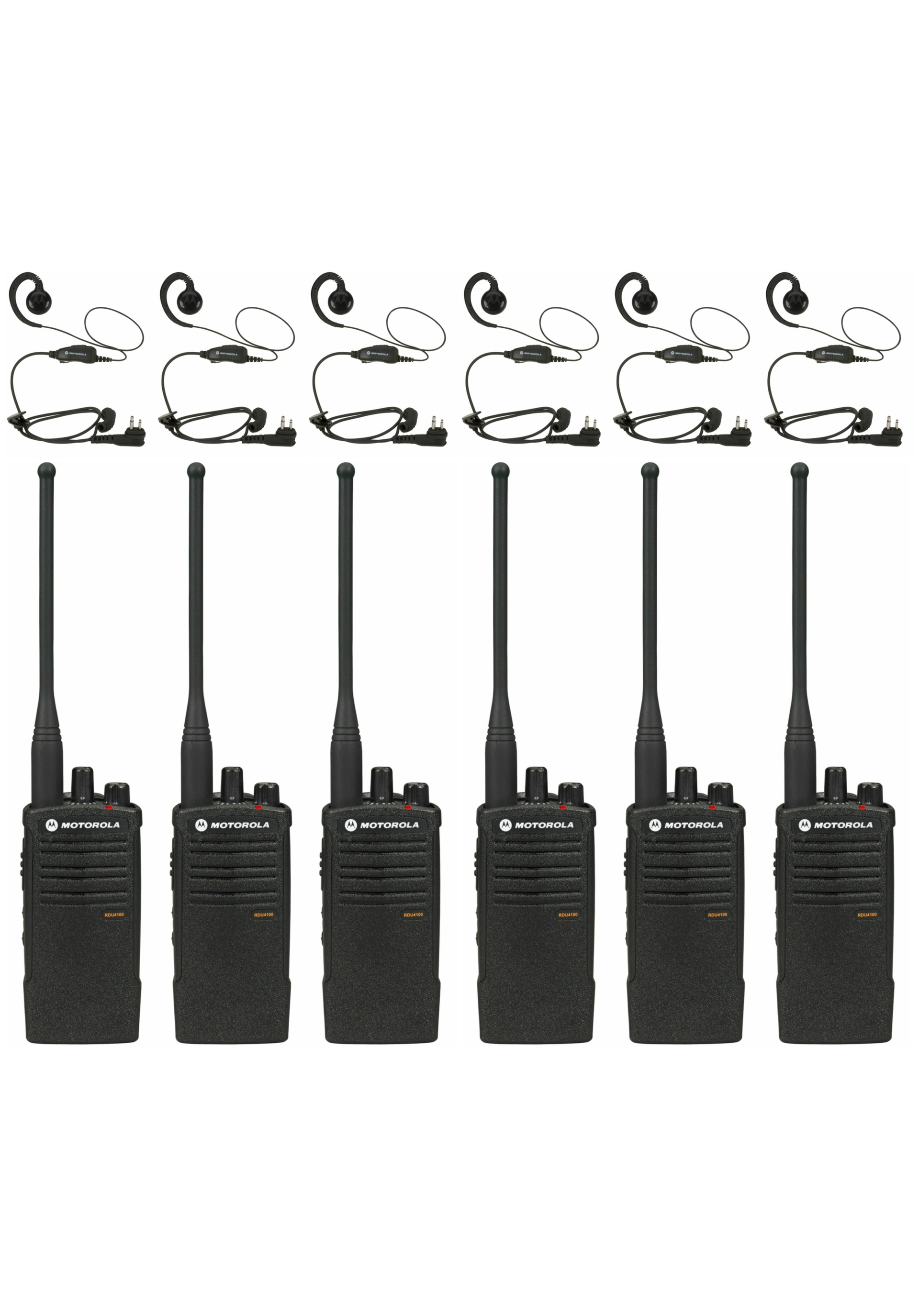 6 Motorola Rdu Uhf Two Way Radios With Hkln