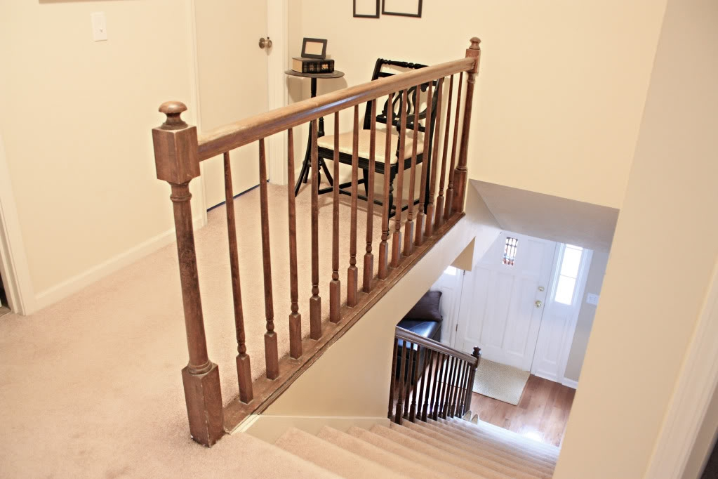 How To Paint Stairway Railings Bower Power   Stair Banisters And Railings   Baby Proof   Rustic   Split Level   Pinterest   Landing