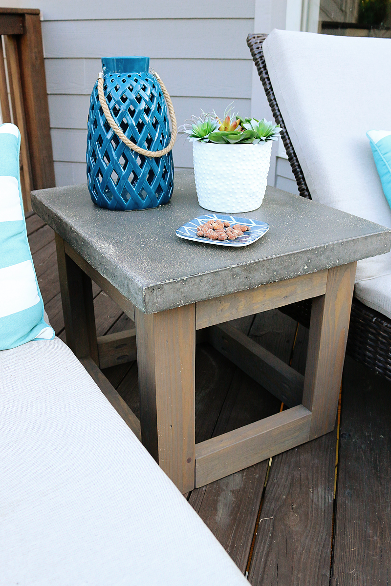 Concrete & Wood Outdoor Side Table - Bower Power on Backyard Table Decor id=87923