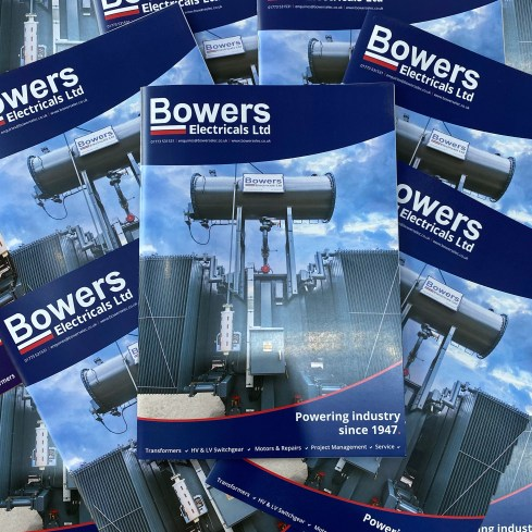Pile of Bowers Electricals Company Brochures, which you can download on this page.
