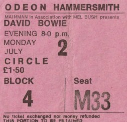 Ticket for David Bowie at the Hammersmith Odeon, London, 2 July 1973