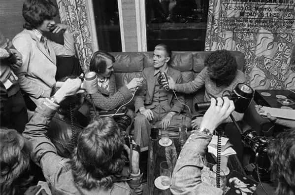 David Bowie holding a press conference in Stockholm, Sweden, 26 April 1976