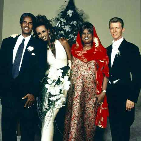 David Bowie and Iman with her family, 6 June 1992