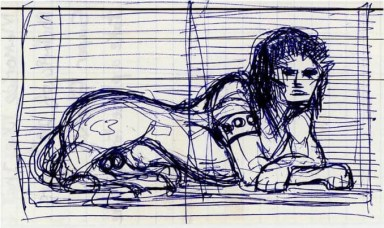 David Bowie's sketch for the Diamond Dogs cover