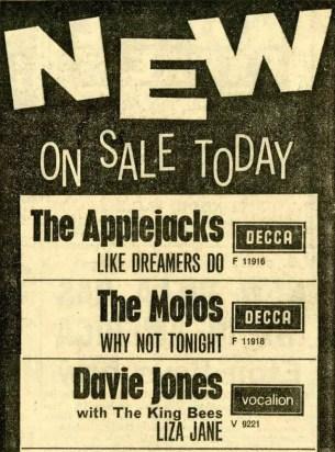 Press advertisement for Liza Jane, June 1964