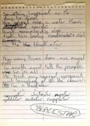 David Bowie's handwritten lyrics for Blackstar