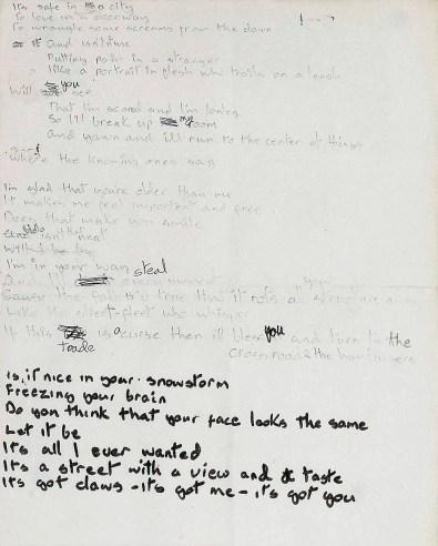 David Bowie's handwritten lyrics for Sweet Thing/Candidate