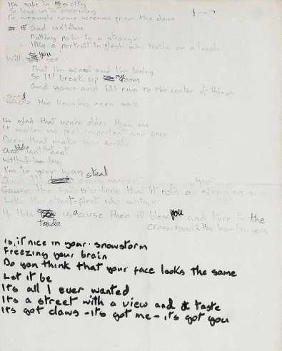 David Bowie's handwritten lyrics for Sweet Thing/Candidate