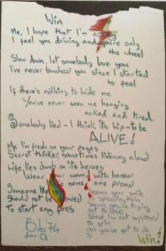 David Bowie's handwritten lyrics for Win