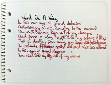 David Bowie's handwritten lyrics to Word On A Wing