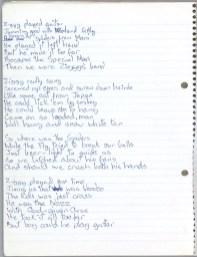 David Bowie's handwritten lyrics for 'Ziggy Stardust'