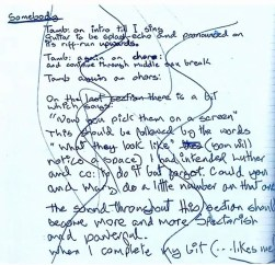 David Bowie's mixing notes for Somebody Up There Likes Me
