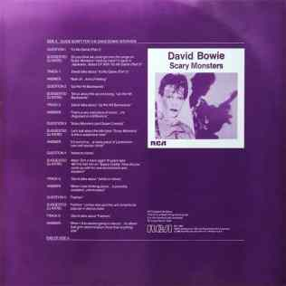 David Bowie Interview LP (Scary Monsters) inner sleeve 1