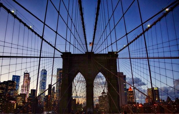 Brooklyn Bridge looking towards Freedom Tower