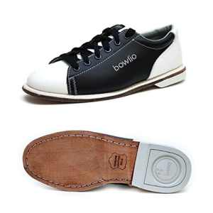 Bowlio Classic – Chaussures de bowling en cuir blanc et noir – Adulte et enfant, Pointure:43, Farbe (Schuhe):Noir/Blanc