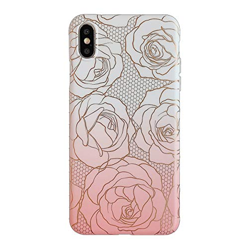 Oihxse Compatible pour iPhone XS Coque Marbre Motif Stitching Crystal Ultra-Mince Protection Housse en Silicone TPU Souple Flexible Bumper Anti Choc Etui Case (Fleur 3)
