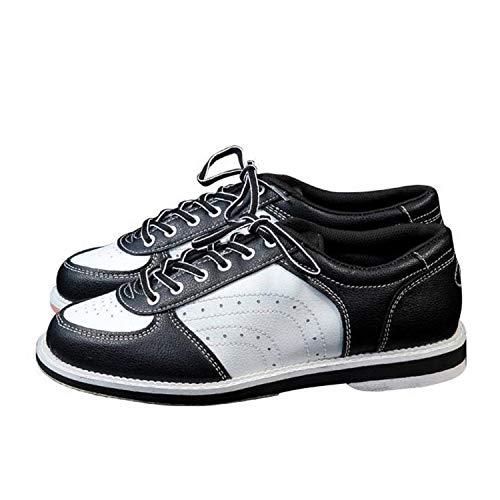 FJJLOVE Chaussure De Bowling Unisexe, Bols D'intérieur Léger Chaussures À Lacets Chaussures De Marche en Cuir Décontracté pour Hommes Femmes,Blanc,42