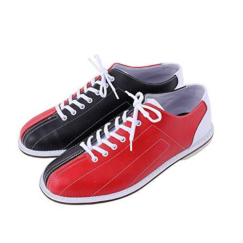 FJJLOVE Chaussures De Bowling pour Hommes, Baskets De Bol Légers Soupeaux Plats Antidérapants Chaussures D'entraîneur De Bowling pour Femmes Unisexe,Rouge,35