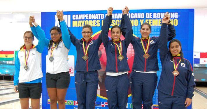 2016 PABCON Women's Doubles medalists - from left, Kamilah Dammers & Thashaina Seraus (Aruba; 2nd), Clara Juliana Guerrero & Rocio Restrepo (Colombia; 1st) and Maria Jose Rodriguez & Juliana Franco (Colombia; 3rd).