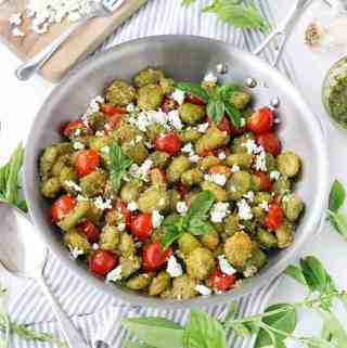 Crispy Pesto Gnocchi with Goat Cheese and Cherry Tomatoes