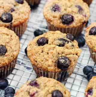 Banana Blueberry Oat Muffins  (made with 100% whole grains and honey)