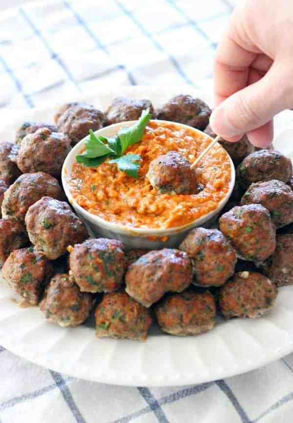 Paleo Greek Meatballs (Keftedes) and Romesco Sauce