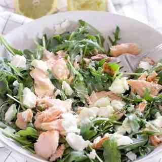 Salmon, Goat Cheese, and Arugula Salad with Creamy Lemon Garlic Dressing